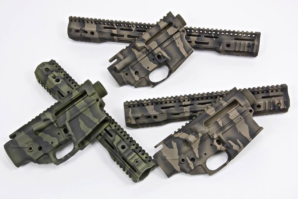 Aero Precision Receivers with Parallax Tactical rails in Tiger Stripe Cerakote