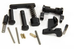 BKF AR15 Lower Parts Kit (LPK) W/ Combat Control Kit in Nitride Minus FCG, Trigger Guard and A2 Grip