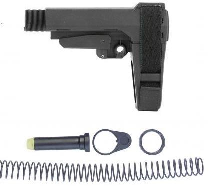 AR15 SB Tactical SBA3 Pistol Stabilizing Brace W/ Mil Spec Buffer Tube Assembly - Black
