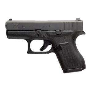 """Glock, 42, Striker Fired, Semi-automatic, Polymer Frame Pistol, Sub-Compact, 380 ACP, 3.25"""" Barrel, Matte Finish, Black, No Finger Grooves, Fixed Sights, 6 Rounds, 2 Magazines"""