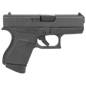 """Glock, 43, Striker Fired, Semi-automatic, Polymer Frame Pistol, Sub-Compact, 9MM, 3.41"""" Barrel, Matte Finish, Black, No Finger Grooves, Fixed Sights, 6 Rounds, 2 Magazines"""