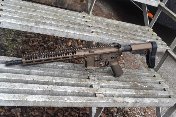 "BKF M4 MOD-1 AR15 12.5"" 1/7 Twist 5.56 Nato SBA3 Cerakoted Pistol - Midnight Bronze"